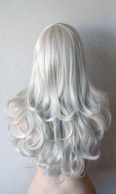 Silver wig. Gray color Long curly hair long side bangs by kekeshop