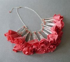 Coral Fabric Flower Statement Necklace // Silver Chain // Romantic