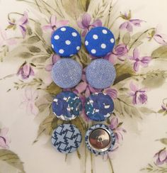 Hanukkah Earrings / Fabric Covered Buttons / by ManhattanHippy