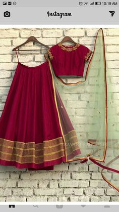 Velvet Lehenga Choli with net dupatta. WhatsApp us for Purchase & Inquiry : B Lehenga Designs Simple, Simple Lehenga, Half Saree Designs, Choli Designs, Lehenga Designs Latest, Indian Gowns Dresses, Indian Fashion Dresses, Dress Indian Style, Indian Designer Outfits