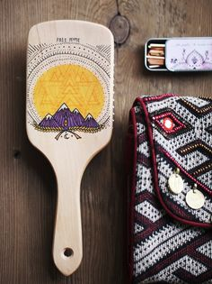 Hand Painted Wooden Brush | Large wooden paddle brush, beautifully handpainted with a cool boho design. *By Gypsy Pea Magoo for Free People