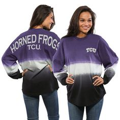 TCU Horned Frogs Women's Ombre Long Sleeve Dip-Dyed Spirit Jersey - Purple