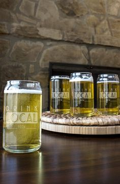 CATHY'S CONCEPTS 'Drink Local' Pint Glasses (Set of 4) available at #Nordstrom
