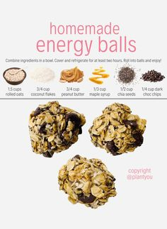 We love this vegan homemade energy ball recipe since it only requires 6 simple plant-based ingredients. In our Plant Ahead Meal Prep Program you can enjoy more whole-food plant-based and refined sugar free snack in our meal plans! Healthy Desayunos, Quick Healthy Snacks, Easy Snacks, Kid Snacks, Healthy Homemade Granola, Homemade Protein Bars, Healthy Lunch Ideas, Vegan Snacks On The Go, Homemade Plant Food