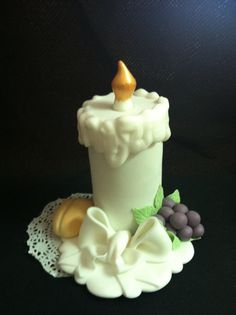 First Communion Cake Topper Baptism Candle por CakeToppersBoutique