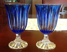 Bohemian Cobalt Blue Cut To Clear Crystal Goblets Set of 2
