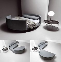 Unique Round Bed in a Modern Bedroom