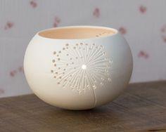 Porcelain Tea light Delight. Candle holder N.5. Dandelion votive lighting. Design by Wapa Studio.. $40.00, via Etsy.