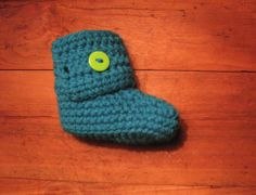 Bright Blue Crochet Baby Shoes with Green Button Closure (Made to Order)