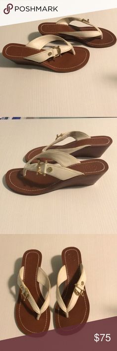 Tory Burch white wedge sandals These Tory Burch white wedge sandals were only worn a few times. They are very comfortable, but still look stylish. Tory Burch Shoes Sandals