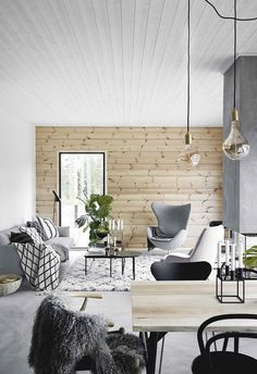 An eco-friendly modern cabin house with Nordic style Nordic Living Room, Living Room Colors, Living Room Grey, Living Room Modern, Living Room Designs, Living Room Decor, Living Rooms, Design Scandinavian, Nordic Interior Design