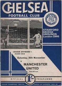 Vintage Football Programme - Chelsea v Manchester United, 1967/68 season