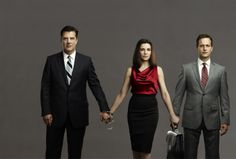 Chris Noth as Peter Florrick, Julianna Marguiles as Alicia Florrick, and Josh Charles as Will Gardner