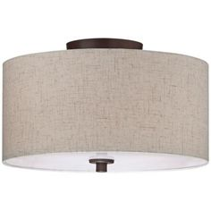 """Bronze with Off White Shade14"""" Wide Ceiling Light Fixture"""