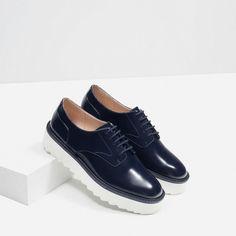 Zara Platform Bluchers (€46) via Polyvore featuring shoes, zara footwear, platform shoes, vinyl shoes y zara shoes