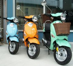 Buddy scooters looking forward to adventures ahead. A trip to the farmers market for the seafoam Buddy with basket, perhaps?