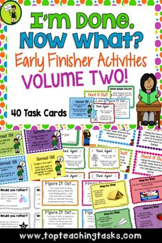 """Our Early Finisher Task Cards are a great way to answer the common classroom question, """"I'm Done. Now What?"""" Engage your students with these great activities while building their creative thinking, sequencing, writing and cause and effect skills.   ***This pack comes with both US and British spellings.***  In this pack you will receive 40 task cards - Four """"Would You Rather?"""" Opinion Writing Task Cards - Four """"Think Again"""" Creative Thinking Thinking Task Cards + MORE…"""