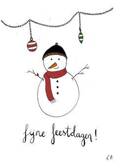 Kerstkaart sneeuwpop - Lot Bouwes // Lot Bo