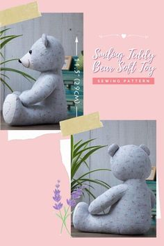 Smiling Teddy Bear Soft Toy sewing pattern. What a happy-looking bear this is! Made to sit quietly with a sweet smile he is about 11½ inches (29 cm) in a sitting height. The designer rates her project as easy to follow, as long as you have some basic sewing skills. Animal Sewing Patterns, Sewing Patterns For Kids, Sewing For Kids, Sewing Toys, Baby Sewing, Teddy Bear Sewing Pattern, Fabric Toys, Modern Kids, Sewing Basics