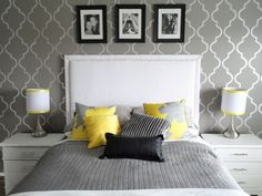 Entrancing Images Of Modern White And Gray Bedroom Decoration Ideas : Entrancing Image Of White And Gray Bedroom Decoration Using Accent Pattern Light Grey Bedroom Wall Paint Including Rectangular White Leather Headboard And Light Grey Yellow Bedding