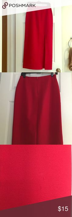 Your Holiday Skirt Beautiful red skirt with slit on right side. Zipper in back. Has a small snug but unnoticeable. Skirts Maxi