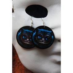Cheshire Cat earrings ($5.15) ❤ liked on Polyvore featuring jewelry, earrings, wood jewelry, polish jewelry, wooden earrings, earrings jewelry and wood earrings
