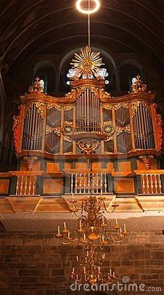 Shot of pipe organ in the Norwegian cathedral in Trondheim.