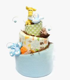 Woodland Diaper Cake for Baby Shower Safari by babyblossomco
