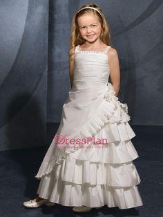 Lovely Square Neckline Radiant Taffeta Flower Girl Dress