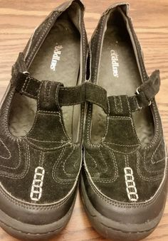Women's Cuddlers size 8.5(W) black leather mary jane loafers velcro shoes in Clothing, Shoes & Accessories | eBay