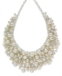 Charter Club Silver-Tone Glass Pearl Cluster Bib Necklace - Jewelry & Watches - Macy's