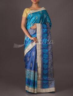 Beena Hand-Embroidered Mango Motifs Wedding #TussarSilkSaree