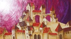 770lire - Surrealistic Old town in Italy 100x180x2 cm S48 Dolche Acqua palette knife Large painting purple