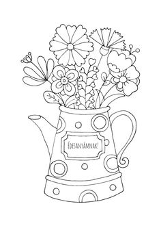 Mother's day coloring page! Colouring Pages, Coloring Sheets, Coloring Books, Embroidery Patterns, Diy And Crafts, Stencils, Greeting Cards, Spring, Punch