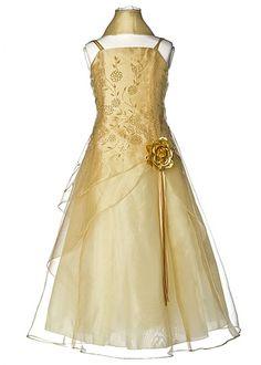 gold flower girl dress on pinterest   Home » Gold Floral Embroidered Organza Girl Dress