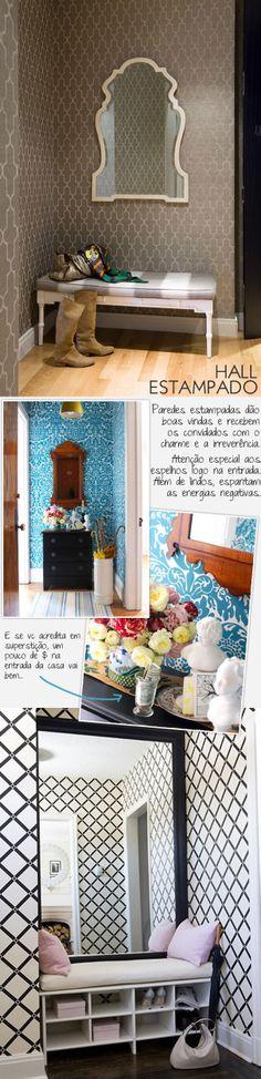 Casa de Valentina -Decoração hall de entrada, apenas banco, porta chaves, com espelho