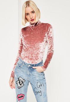 Missguided - Pink Velvet High Neck Bodysuit