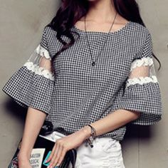 Sweet Scoop Neck Checked Print Lace Spliced Flare Sleeve T-Shirt For Women
