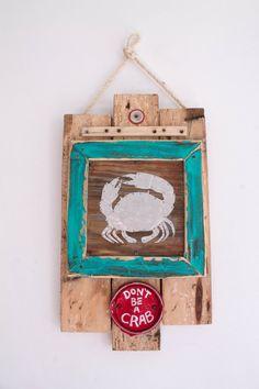 Beach Decor Don't Be A Crab Beach Sign Reclaimed Wood by MangoSeed #MangoSeed #ChristinaRowe