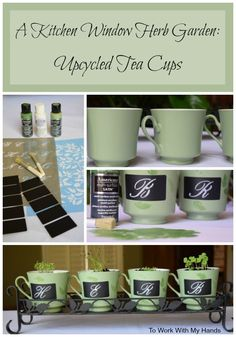 How would you upcycle tea cups? I've joined 5 other bloggers in a creative project featuring tea cups. I chose a garden theme for mine and created an upscale herb nursery for this spring's new herbs.