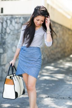 Drape Mini Skirt + Striped Top [Top: Madewell || Bottom: See by Chloe from wendylookbook]