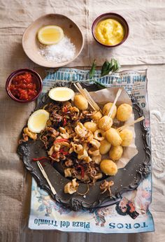 Prawn croquettes & calamari with peppers & onions, Spanish Tapas