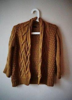brązowy musztardowy gruby sweter