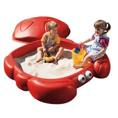 Get a sandbox that is fun and different. This brightly colored crab character sandbox from is perfect for sand and water play activities. It holds up to 300 lbs of sand and comes equipped with Outdoor Water Games, Outdoor Toys, Outdoor Play, Kids Sandbox, Sandbox Diy, Sandbox Ideas, Water Play Activities, Gardens, Sandbox