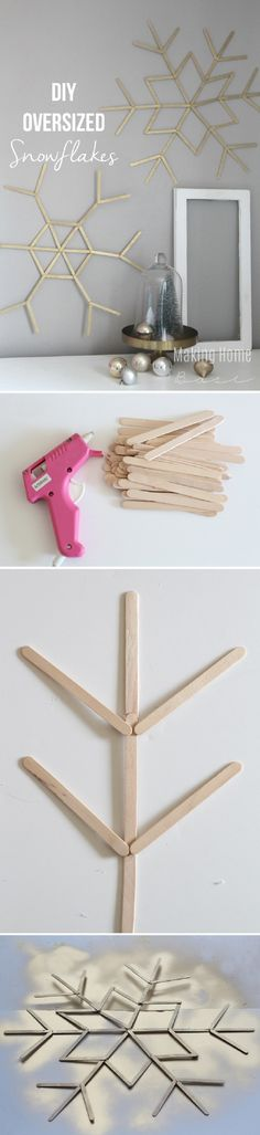 DIY Oversized Snowflakes from Popsicle Sticks - 15 DIY Winter Decoration Tutorials | GleamItUp