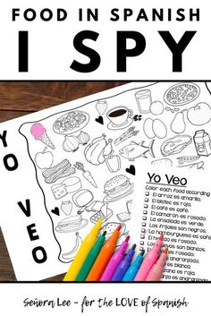 Spanish Colors, Spanish 1, Learn Spanish, Spanish Food, How To Speak Spanish, Spanish Teaching Resources, Spanish Activities, Color Activities, Spanish Lesson Plans