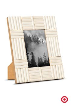 """Display a favorite photo in this striking 4x6"""" frame from Nate Berkus. White glass resembles faux bone inlay in an unusual and beautiful treatment. Take a look at your local Target."""