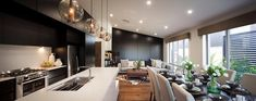 Black Walls, Conference Room, Table, House, Furniture, Color Palettes, Design, Home Decor, Kitchens