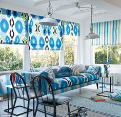 Blue blinds and sofa - Espanola Way by Designer's Guild