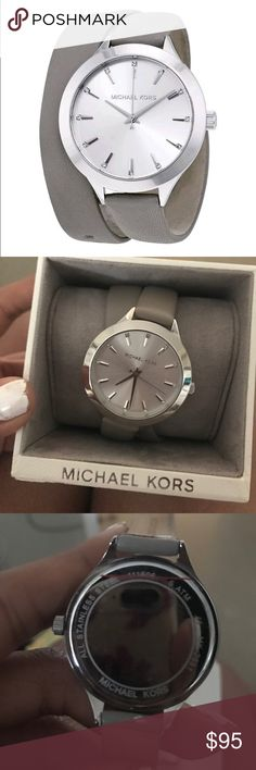 Michael Kors Gray Double Wrap Leather Band Watch This watch is brand new. It still had the sticker on the back of the stainless steel. Only wore it to try it on! It is so cute and the double wrap is amazing on the wrist. Perfect color for any season! MICHAEL Michael Kors Accessories Watches